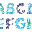 Stock Vector: Swirly hand drawn font. Vector letters set A-H