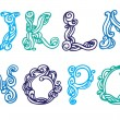 Swirly hand drawn font. Vector letters set I-Q — Stock vektor