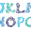 Swirly hand drawn font. Vector letters set I-Q — Stock Vector