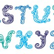 Swirly hand drawn font. Vector letters set R-Z — ストックベクタ