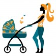 Silhouette of beautiful mother with baby carriage — Stock Vector #11340978