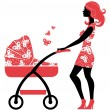 Silhouette of beautiful mother with baby carriage — Stock Vector