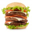 Large burger with beef, cheese, onion and tomatoes — Stock Photo