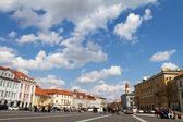 The Town Hall Square (Rotuses aikste) in Vilnius, Lithuania — Foto de Stock