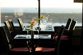 Modern restaurant interior with scenic seaside view — Stock Photo