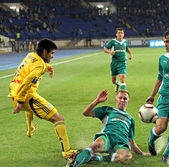 Fc メタリスト ハリコフ対 fc オボロニ キエフ サッカーの試合します。 — ストック写真