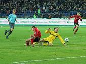 Metalist kharkiv vs metalurh zaporizjzja fotbollsmatch — Stockfoto