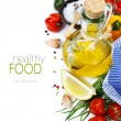 Olive oil and ingredients - Foto Stock