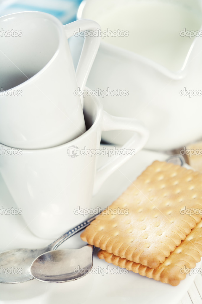Coffee cups, milk  and cookies  Stock Photo #10783354