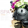 Stock Photo: Asian tea set and spa settings