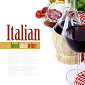 Bottle of wine from Italy and fresh ingredients — Stock Photo