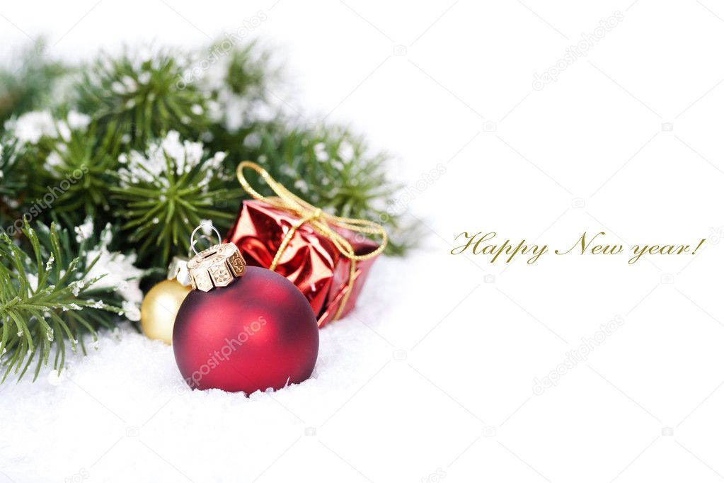 Christmas composition with christmas ball (with sample text) — Lizenzfreies Foto #12086223