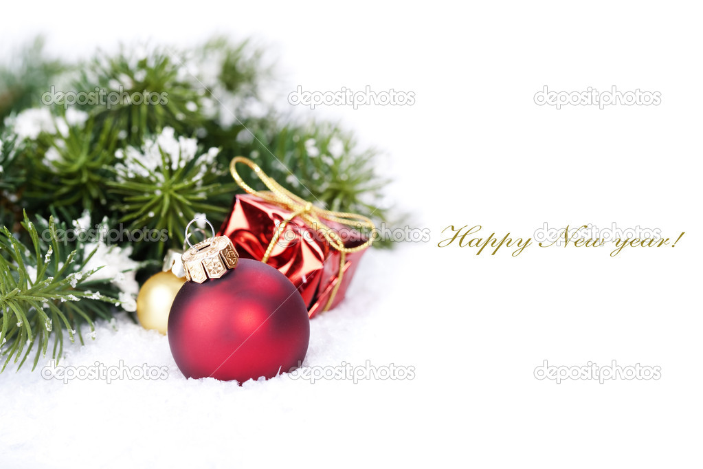 Christmas composition with christmas ball (with sample text) — Stock fotografie #12086223