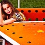 Amazing portrait of beautiful young woman posing outdoor. — Stock Photo