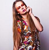 Beautiful woman in glamour evening dress — Stock Photo