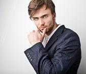 Elegant young handsome man. Studio fashion portrait. — Stock Photo