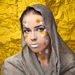Fashion Beautiful Womover grunge yellow background. — Stock Photo #11904983