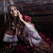 Fine art photo of a young fashion lady in a dark mystic location.  — Foto de Stock