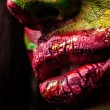 Close-up portrait of artistic wompainted with red & green color. Part of face photo. — Stock Photo #11911021