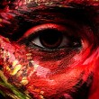 Close-up portrait of artistic wompainted with red & green color. Part of face photo. — Stock Photo #11911045