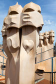 Antoni Gaudi's work at the roof of Casa Mila — Stock Photo