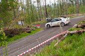 C. Britton driving Subaru Impreza — Stock Photo