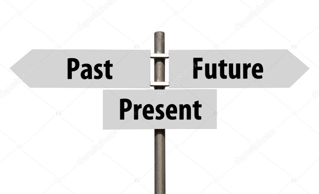 Conceptual picture of a signpost with past, present and future isolated on white background (all signs cleaned on grey) — Stock Photo #11097793