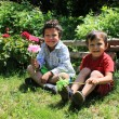 Brothers in the garden — Stock Photo