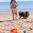 Stock Photo: Little girl at beach in P.E.I