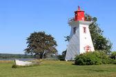 P.E.I. lighthouse and boat — Stock Photo