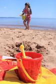 Niña en la playa de p.e.i — Foto de Stock