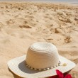 Beach hat and flower - Stockfoto
