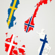 Stock Vector: Nordic countries