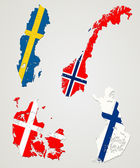 Nordischen ländern — Stockvektor