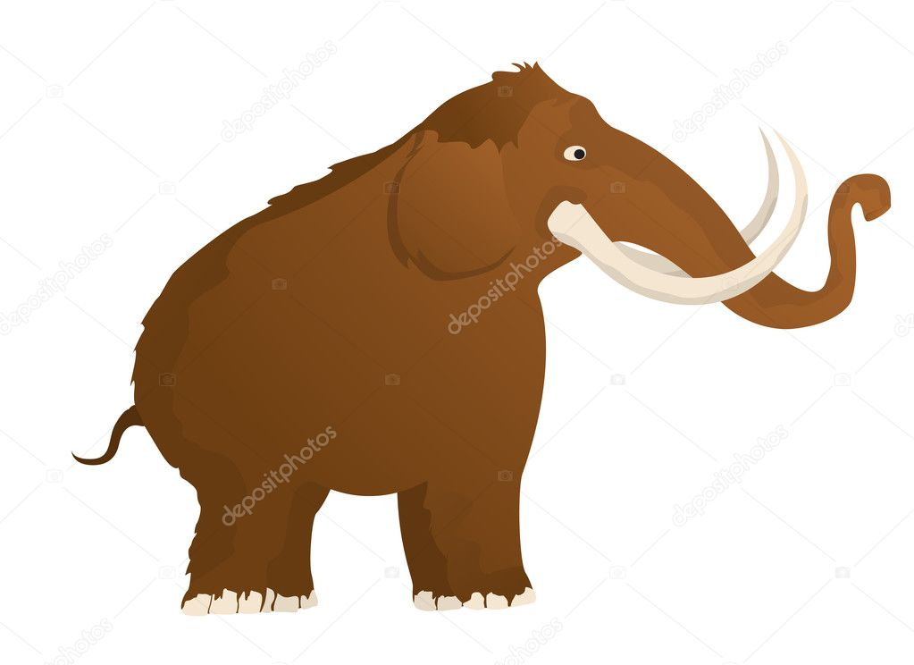 Woolly mammoth, isolated and grouped objects over white background  Stock Vector #10909196