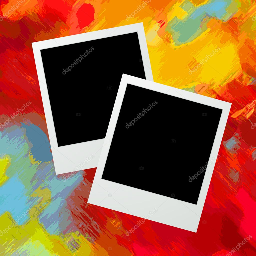Graphic illustration of two photo frames over a grunge painted background  Stock Vector #11412422