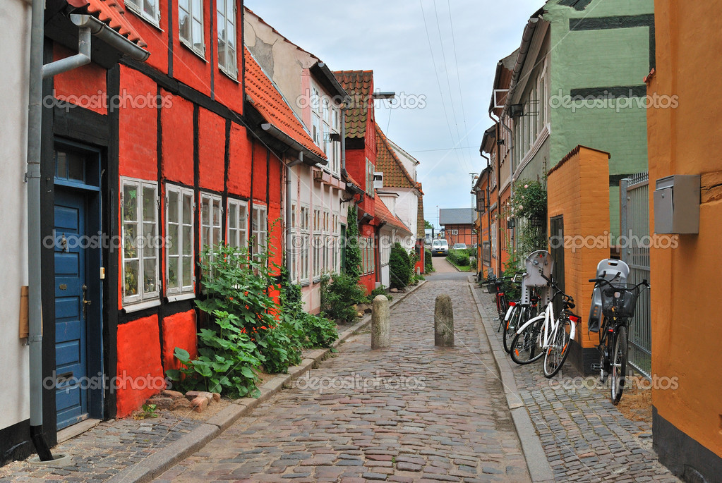 Elsinore, Denmark. Beautiful street with old colorful houses — Stock Photo #11873497