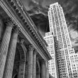 Stock Photo: Black and White Skyline of Manhattwith office buildings skysc