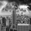 Black and White Skyline of Manhattan with office buildings skysc - Foto Stock