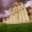 Fisheye view of Cathedral and Baptistery in Piazza dei Miracoli, — Stock Photo #10750097