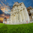 Fisheye view of Cathedral and Baptistery in Piazza dei Miracoli, - ストック写真