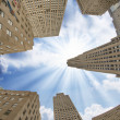 Upward view of Manhattan Office Buildings and Skyscrapers — Stock Photo