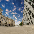 Fisheye exterior side view of Berlin Reichstag, Germany — Stock Photo