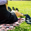 Stock Photo: Couple in the Forties relaxing on the Park