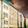 Row of Buildings in Berlin with dramatic Sky - Stock Photo