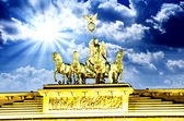 Majesty of Quadriga over Brandenburg Gate, with dramatic Sky — Stok fotoğraf