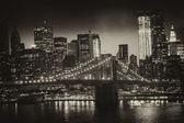Manhattan, New York City - Black and White view of Tall Skyscrap — Stock Photo