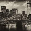 Manhattan, New York City - Black and White view of Tall Skyscrap - Stock Photo