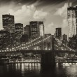 Manhattan, new york city - zwart-wit weergave van hoge skyscrap — Stockfoto #11528436