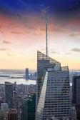 Modern Skyscrapers at Sunset, Bird view — Stock Photo
